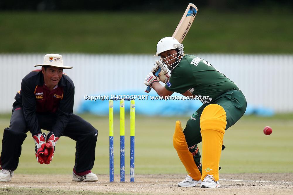 Kane Tangimetua, Twenty 20 cricket, Northern Districts Maori v Cook Islands, Seddon Park, Hamilton. 4 April 2011. Photo: William Booth/photosport.co.nz