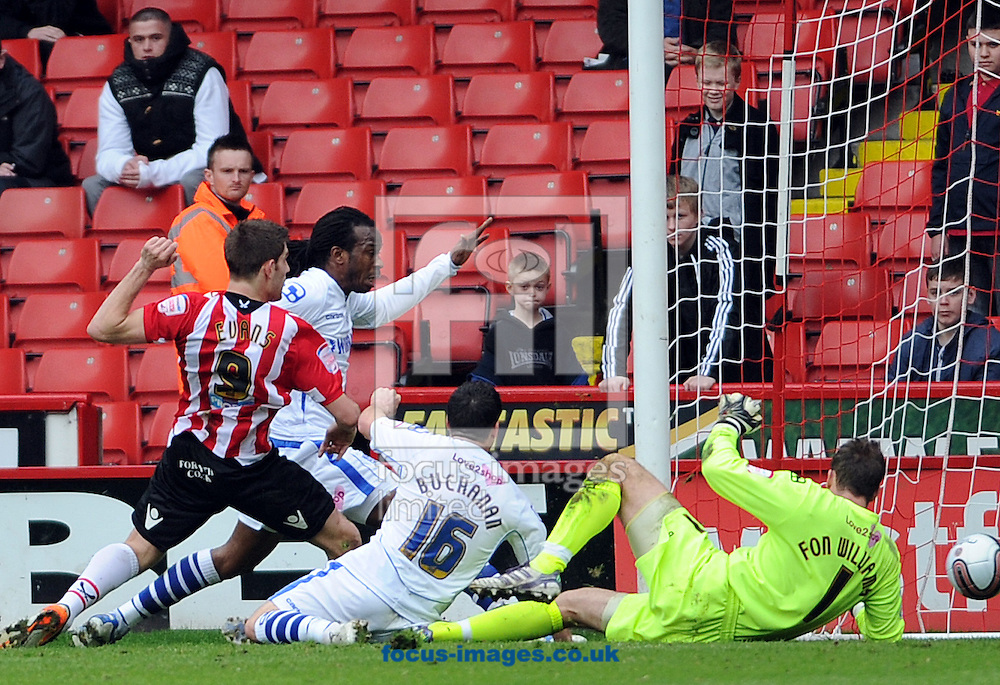 Picture by Graham Crowther/Focus Images Ltd. 07763140036.17/03/12.Ched Evans of Sheffield United scores the opening goal against Tranmere Rovers during the Npower League 1 match at Bramall Lane, Sheffield..