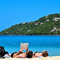 Couple Reading and Napping at Magens Bay on the Northside, Saint Thomas <br />