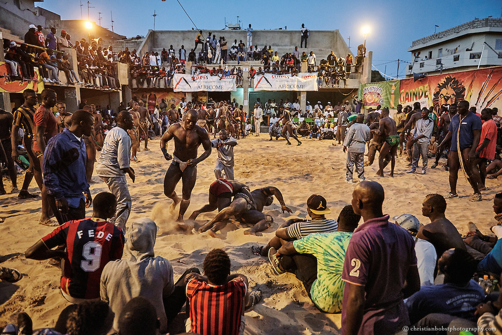 March, 28 2015. A tournament in the Adrien Senghor arena leans towards the end. Because it is too hot during the day, the competitions always take place in the evening and often last until midnight.