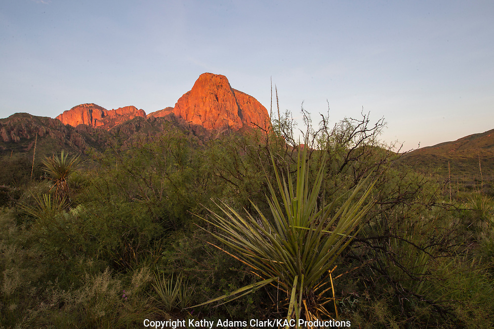 Light from rising sun hitting the  Chisos Mountains at Big Bend National Park, Texas. Vantage point is the Green Gulch parking area.