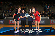 ANZ Future Captains Morgan Strode-Penny (L), age 13, and Krista Taylorstill (R), age 13, pose for a pre-game photo with Waikato-BOP Magic captain Casey Kopua and Tactix captain Hayley Saunders. ANZ Premiership netball match - Magic v 170529 ANZ Premiership - Magic v Tactix played at Claudelands Arena, Hamilton, New Zealand on Monday 29 May 2017. Copyright photo: Bruce Lim / www.photosport.nz