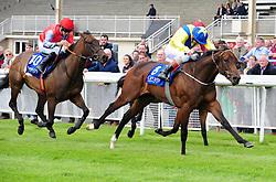 Mur Hiba and Kevin Manning jockey win the K Club European Breeders Fund Maiden at Curragh Racecourse, Co. Kildare, Ireland.