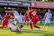 Danny Johnson's attempt on goal is blocked during the Friendly match between York City and Leeds United at Bootham Crescent, York, England on 15 July 2015. Photo by Simon Davies.