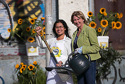 Repro Free: 21 Oct 2013 &quot;Could your local community use a makeover?&quot; Masterchef&rsquo;s Nicha Maguire and Super Garden&rsquo;s Lisa McKnight pictured at the launch of the Flora Sunflower Makeover, which offers one lucky community the chance to transform a rundown area into an attractive, family-friendly space.<br /> To be in with a chance to win this great prize, entrants simply submit a picture of the space in their area that needs attention and explain why their community deserves a Flora Sunflower Makeover. The entry can either be posted through Facebook at www.facebook.com/FloraWomensMiniMarathon.com, or simply e-mailed to entry@florasunflowermakeover.com.  Picture Andres Poveda<br /> <br /> - ends -<br /> <br /> For further information please contact:<br /> Lisa Porter / Breda Brown<br /> Unique Media Tel: 01 522 5200, 087 7444067 (Lisa)