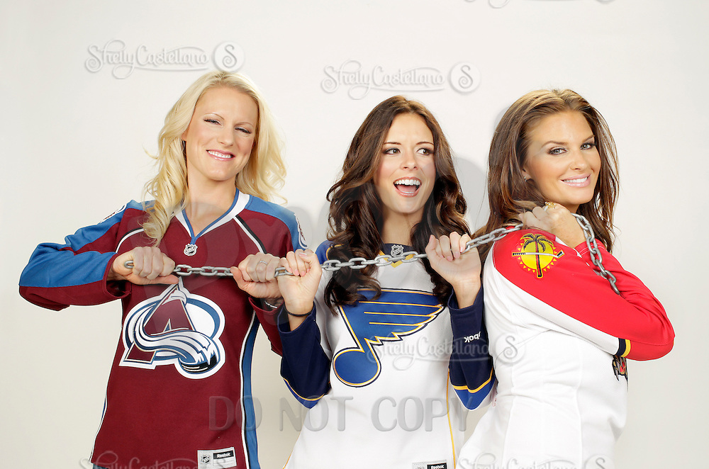 9 November 2012: Tiffany Parros, Kristen Giguere and Amanda Elliott. Wives of professional ice hockey players.  Photographed for the Real Housewives of the National Hockey League in Tustin, CA.