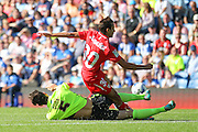 Lewis Dunk of Brighton & Hove Albion tackles Juan Munoz of Sevilla during the Pre-Season Friendly match between Brighton and Hove Albion and Sevilla at the American Express Community Stadium, Brighton and Hove, England on 2 August 2015. Photo by Phil Duncan.