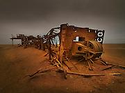 Abandoned oil drilling rig, Skeleton coast, Namibia.