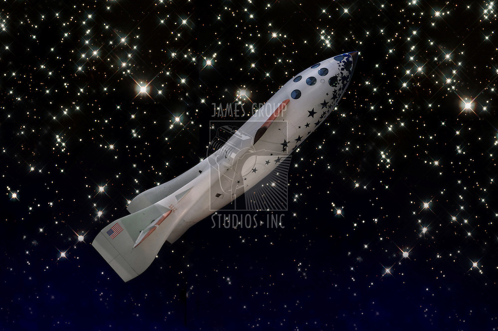 Space Ship One against a starlit space background