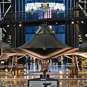 Seen from the front, with it's engines on each wing, the high-speed Lockheed SR-71 Blackbird spyplane on display at the Smithsonian National Air and Space Museum's Udvar-Hazy Center, a large hangar facility at Chantilly, Virginia, next to Dulles Airport and just outside Washington DC.