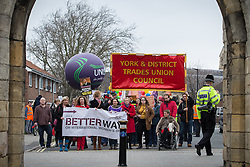 © Licensed to London News Pictures . 08/03/2014 . York , UK . A TUC protest march against the Liberal Democrat and Conservative coalition government passes through the York City Wall by the Barbican Centre in York . The second day of the Liberal Democrat Spring Conference today (Saturday 8th March 2014) . Photo credit : Joel Goodman/LNP