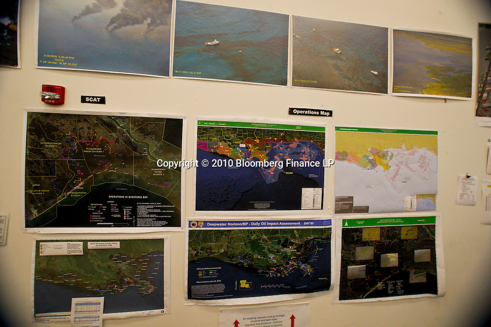 Maps of operations are displayed inside the war room at the Joint Information Center in Houma, Louisiana, U.S., on Thursday, June 24, 2010. The BP Plc oil spill, which began when the leased Transocean Deepwater Horizon oil rig exploded on April 20, is gushing as much as 60,000 barrels of oil a day into the Gulf of Mexico, the government said. Photographer: Derick E. Hingle/Bloomberg