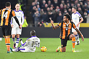 Hull City midfielder Tom Huddlestone (8) brings down Mohamed Diame (15) Newcastle United midfielder during the EFL Quarter Final Cup match between Hull City and Newcastle United at the KCOM Stadium, Kingston upon Hull, England on 29 November 2016. Photo by Ian Lyall.