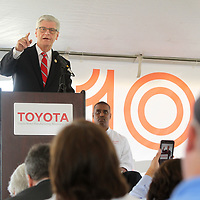 Governor Phil Bryant, speaks to local officals and Toyota Mississippi team members, during a 10 years celebration at the Toyota Manufacturing Plant in Blue Springs Thursday morning. Toyota also announced its future plans for an onsite welcome center to be built.