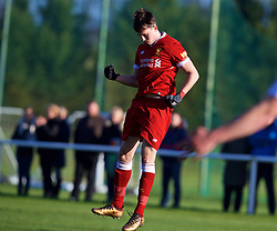 BLACKBURN, ENGLAND - Saturday, January 6, 2018: Liverpool's Liam Millar celebrates scoring the third goal during an Under-18 FA Premier League match between Blackburn Rovers FC and Liverpool FC at Brockhall Village Training Ground. (Pic by David Rawcliffe/Propaganda)