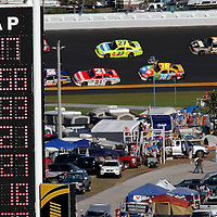 The scoreboard is seen during the Daytona 500 at Daytona International Speedway on February 20, 2011 in Daytona Beach, Florida. (AP Photo/Alex Menendez)