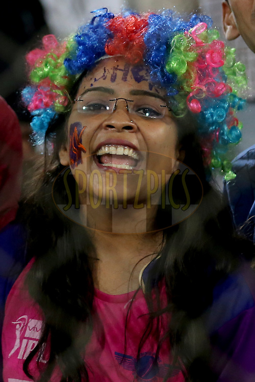 Raising Pune Supergiants supporters  during match 22 of the Vivo IPL 2016 (Indian Premier League ) between the Sunrisers Hyderabad and the Rising Pune Supergiants held at the Rajiv Gandhi Intl. Cricket Stadium, Hyderabad on the 26th April 2016<br /> <br /> Photo by Faheem Hussain / IPL/ SPORTZPICS
