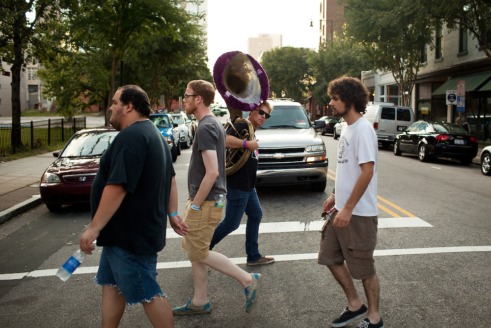 Have tuba, will travel, Blount Street, Raleigh, N.C., during the Hopscotch Music Festival, Saturday, Sept. 10, 2011.