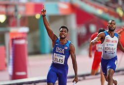 October 5, 2019, Doha, Qatar: Noah Lyles of United States winning for the United States in  100 meter relay for men during the 17th IAAF World Athletics Championships at the Khalifa Stadium in Doha, Qatar on October 5, 2019. (Credit Image: © Ulrik Pedersen/NurPhoto via ZUMA Press)