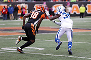 Indianapolis Colts cornerback Pierre Desir (35) plays bump and run coverage as he covers Cincinnati Bengals wide receiver A.J. Green (18) on a pass route during the 2017 NFL week 8 regular season football game against the Cincinnati Bengals, Sunday, Oct. 29, 2017 in Cincinnati. The Bengals won the game 24-23. (©Paul Anthony Spinelli)