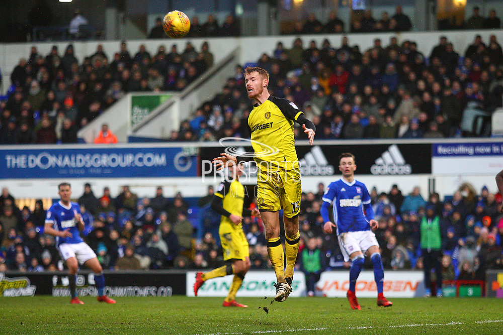Burton Albion's Tom Naylor heads clear during the EFL Sky Bet Championship match between Ipswich Town and Burton Albion at Portman Road, Ipswich, England on 10 February 2018. Picture by John Potts.