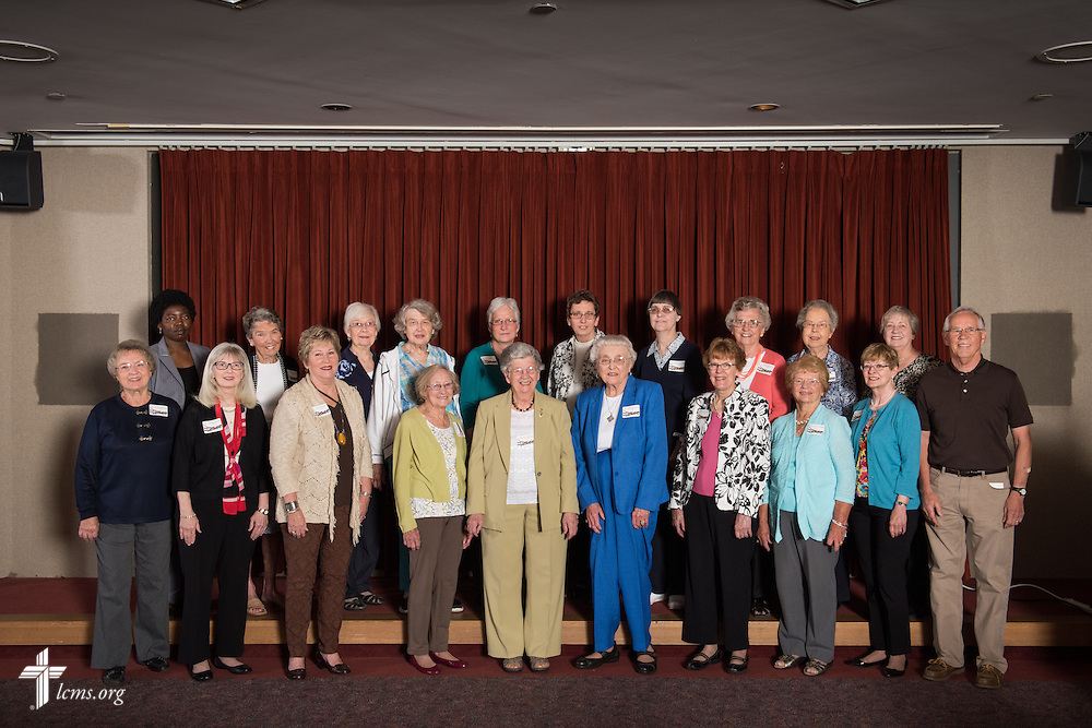 A group photograph of volunteers at the volunteer luncheon at the International Center of The Lutheran Church–Missouri Synod on Thursday, April 16, 2015, in Kirkwood, Mo. LCMS Communications/Erik M. Lunsford