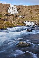 Dynjandi waterfall in evening light, West fiords of Iceland.