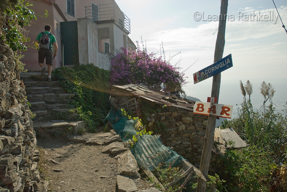 A bar provides a midway rest along the trail in Cinque Terre, near Corniglia, Italy.