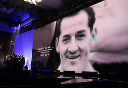 A tribute to Jackie Sewell on the big screen during the Professional Footballers' Association Awards 2017 at the Grosvenor House Hotel, London