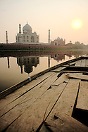 The Taj Mahal seen from the Yamuna river