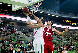 Devin Oliver #5 of KK Union Olimpija vs Lior Eliyahu of Hapoel during basketball match between KK Union Olimpija Ljubljana (SLO) and Hapoel Jerusalem (ISR) in Round #4 of 7Days EuroCup 2016/17, on October 26, 2016 in Arena Stozice, Ljubljana, Slovenia. Photo by Vid Ponikvar / Sportida