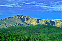 The summit of 14,110 ft. Pikes Peak as viewed from along the Pikes Peak Highway.  Colorado.