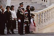 National holiday: The Prince's family in the cour d'honneur.   Fête nationale; la  famille princière dans la cour d'honneur SAS Albert, Caroline   288286/63    L921119f  /  P0000344