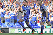 hat trick hero Ipswich Town midfielder Grant Ward celebrates a goal during the EFL Sky Bet Championship match between Ipswich Town and Barnsley at Portman Road, Ipswich, England on 6 August 2016. Photo by Nigel Cole.