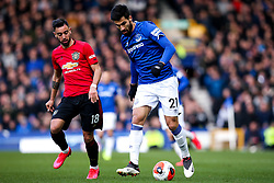 Andre Gomes of Everton takes on Bruno Fernandes of Manchester United - Mandatory by-line: Robbie Stephenson/JMP - 01/03/2020 - FOOTBALL - Goodison Park - Liverpool, England - Everton v Manchester United - Premier League