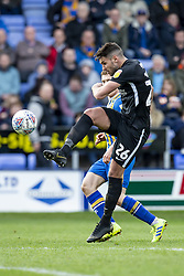 March 23, 2019 - Meadow, Shropshire, United Kingdom - Gareth Evans of Portsmouth FC shoots during the Sky Bet League 1 match between Shrewsbury Town and Portsmouth at Greenhous Meadow, Shrewsbury on Saturday 23rd March 2019. (Credit Image: © Mi News/NurPhoto via ZUMA Press)