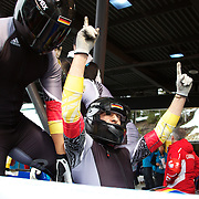 Winter Olympics, Vancouver, 2010.Germany-2 Four man Bobsleigh pilot Thomas Florschuetz during the Bobsleigh Four-man competition at The Whistler Sliding Centre, Whistler, during the Vancouver Winter Olympics. 27th February 2010. Photo Tim Clayton
