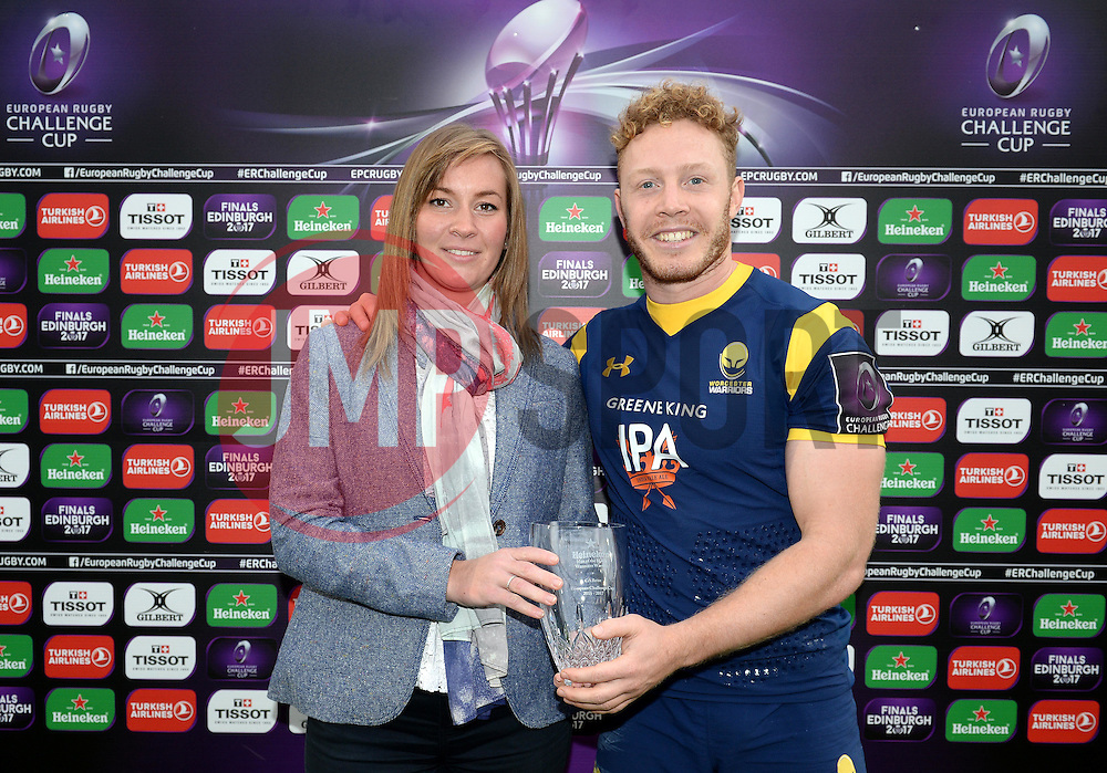 Luke Baldwin of Worcester Warriors is presented with Man of the Match - Mandatory by-line: Dougie Allward/JMP - 22/10/2016 - RUGBY - Sixways Stadium - Worcester, England - Worcester Warriors v Brive - European Challenge Cup