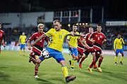 LUXEMBURG 2016-10-07<br /> John Guidetti  skjuter p&aring; m&aring;l under VM-kval matchen i fotboll mellan Luxemburg och Sverige p&aring; Stade Josy Barthel, Luxemburg, fredag den 7 oktober 2016. <br /> Foto: Nils Petter Nilsson/Ombrello<br /> ***BETALBILD***