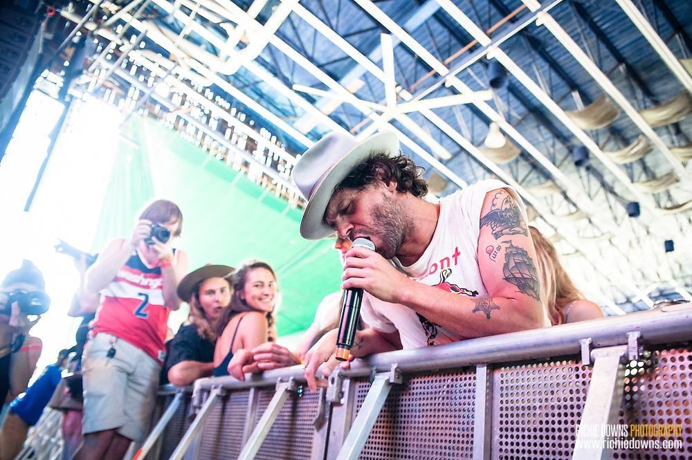 Langhorn Slim & The Law perform during Merryland Music Festival at Merriweather Post Pavilion in Columbia, MD on July 10, 2016 (Photo by Richie Downs).