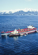 Alaska.  Prince William Sound. On March 24, 1989, The Exxon Valdez oil tanker lies aground on Bligh Reef.  It is widely considered the number one spill worldwide in terms of damage to the environment. 1,300 miles  of miles of rugged and wild shoreline and wildlife. <br />