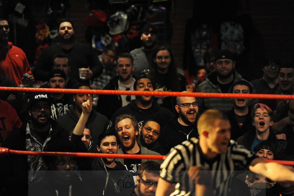 "The crowd cheers during a bout at the Beyond Wrestling Organization's ""Dream Left Behind"" event, held at the Center for Arts at the Armory in Somerville, Sunday, Jan. 31, 2016."