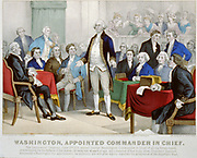 American Revolutionary War (American War of Independence) 1775-1783: Washington appointed commander-in-chief  by the Continental Congress, delegates from the Thirteen Counties that became  the government of the United States. June 1775.  Lithograph 1876.