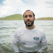 AUGUST 27, 2018--CULEBRA---PUERTO RICO--<br /> Alfredo Monta&ntilde;ez a community board member holds in the water of Tamarindo Bach  in Culebra. The beach had a once vibrant coral reef badly damaged by Hurricane Maria. <br /> (Photo by Angel Valentin/Freelance)