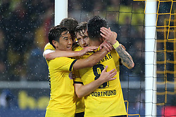 27.08.2015, Signal Iduna Park, Dortmund, GER, UEFA Euro Qualifikation, Borussia Dortmund vs Odd Grenland, Playoff, Rückspiel, im Bild v.l. Shinji Kagawa (Dortmund), Marco Reus (Dortmund) und Ilkay Guendogan (Dortmund) jubeln nach dem Tor zum 3:1 durch Marco Reus (Dortmund) // during UEFA Europa League Playoff 2nd Leg match between Borussia Dortmund and Odd Grenland Signal Iduna Park in Dortmund, Germany on 2015/08/27. EXPA Pictures © 2015, PhotoCredit: EXPA/ Eibner-Pressefoto/ Hommes<br /> <br /> *****ATTENTION - OUT of GER*****
