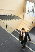 Businessman Talking on Cell Phone elevated view