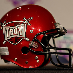 December 18, 2010; New Orleans, LA, USA; A Troy Trojans helmet on display prior to a game against the Ohio Bobcats in the 2010 New Orleans Bowl at the Louisiana Superdome.  Mandatory Credit: Derick E. Hingle