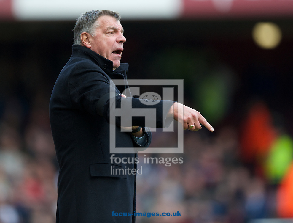 Manager Sam Allardyce of West Ham United during the Barclays Premier League match at the Boleyn Ground, London<br /> Picture by Alan Stanford/Focus Images Ltd +44 7915 056117<br /> 19/04/2014