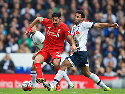 LONDON, ENGLAND - Saturday, October 17, 2015: Liverpool's Emre Can in action against Tottenham Hotspur's Mossa Dembele during the Premier League match at White Hart Lane. (Pic by David Rawcliffe/Kloppaganda)