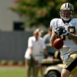 July 31, 2010; Metairie, LA, USA; New Orleans Saints tight end Jeremy Shockey (88) reacts as he drops a deep pass during a training camp practice at the New Orleans Saints practice facility. Mandatory Credit: Derick E. Hingle